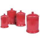 OmniWare Simsbury Red Stoneware Canister, Set of 4