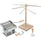 Atlas 150 Wellness Italian Pasta Machine with Ravioli Stamp and Wooden Pasta Drying Rack