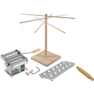 Atlas 150 Wellness Italian Pasta Machine with 12 Square Ravioli Maker with Rolling Pin and Wooden Pasta Drying Rack