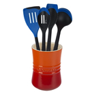 Le Creuset Flame Stoneware 1 Quart Utensil Crock with Revolution Marseille Blue Utensil Set