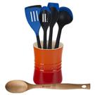 Le Creuset Flame Stoneware 1 Quart Utensil Crock with Revolution Marseille Blue and Beechwood Utensil Set