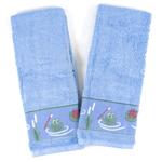 Blue 100% Cotton Bathroom Hand Towel with Frog Pond Design, Set of 2