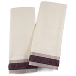 Ivory Cotton Hand Towel With Two-Toned Purple Trim, Set Of 2