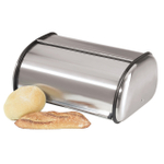 Oggi Stainless Steel Bread Box With Roll Top Lid