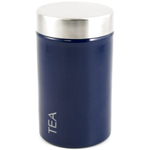 "Stainless Steel with Navy Blue Enamel ""Tilo"" Tea Storage Tin"