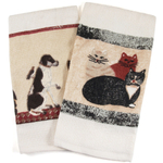 Nidico Cats and Dogs 100% Cotton Kitchen Dish Towels, Set of 2