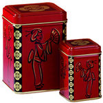 Red & Black Geisha Tea Storage Tin Canister