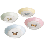 Lenox Multi-colored Porcelain Butterfly Meadow Fruit Dish, Set of 4