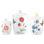 Lenox 3 Piece Porcelain Butterfly Meadow Canister Set