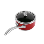 Chantal Red Copper Fusion Saucepan with Lid 1.6 Quart