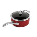 Chantal Chili Red Copper Fusion Saucepan with Lid 3 Quart