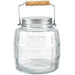 Anchor Hocking Glass Barrel Jar with Lid and Handle, 1 Gallon