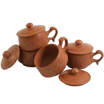 Terracotta Clay Asian Tea Cup Set, 8 Pieces