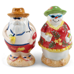 Summer Santa and Snow Woman Salt and Pepper Shaker Set