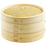 Helen Chen's Asian Kitchen 2 Tiered Bamboo 12 Inch Steamer Set