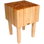 John Boos Solid 16 Inch Hard Rock Maple End Grain Butcher Block on Square Legs, 30 x 30 Inch