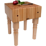 John Boos Solid 10 Inch Hard Rock Maple End Grain Butcher Block on Beveled Legs, 24 x 18 Inch