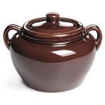 Brown 3 Quart Ceramic Baked Bean Pot