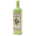Gourmet Hand Painted Green Earthenware French Olive Oil Bottle Cruet
