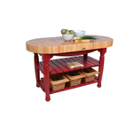 John Boos American Heritage Red End Grain Maple Harvest Table with 2 Shelves