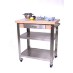 John Boos Cucina Elegante Edge Grain Maple and Stainless Steel Rolling Chef's Cart