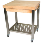 John Boos Cucina Technica End Grain 2-1/4 Inch Maple Butcher Block on Stainless Steel Rolling Cart, 30 x 24 Inch