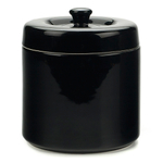 Black Stoneware Grease Keeper with Strainer