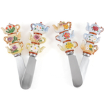 Teapot Stainless Steel and Hand Painted Resin Spreader, Set of 4