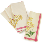 French Daisy Flower Garden Dinner Napkins, Set of 12