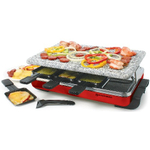 Swissmar Classic Red 8 Person Raclette Party Grill with Granite Stone