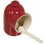 Red Porcelain Salt Cellar Pig With Spoon