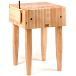 John Boos Solid 10 Inch Hard Rock Maple End Grain Butcher Block on Tapered Legs with Knife Slot, 24 x 24 Inch