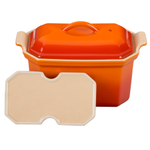 Le Creuset Heritage Flame Stoneware Pate Terrine with Press, .75 Quart
