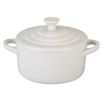Le Creuset White Enameled Stoneware 8 Ounce Mini Round Cocotte