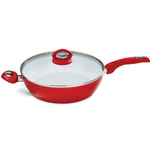 Bialetti Aeternum Collection Red Ceramic and Silicone Saute Pan With Lid, 12 Inch