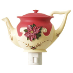 Holiday Poinsettia 2 Piece Teapot Night Light Set