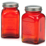 RSVP Retro Red Glass Salt and Pepper Shaker Set
