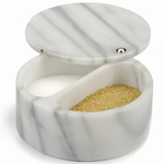 White Marble Swivel Top Dual Compartment Salt Box
