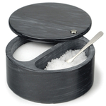 Black Marble Swivel Top Dual Compartment Salt Box