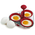 William Bounds Sili Red Silicone Triple Egg Poacher