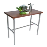 John Boos Cucina Classico Walnut Edge Grain Work Table with Stainless Steel Legs, 24 x 36 Inch