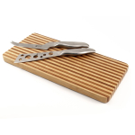 Two Toned Bamboo Magnetic Cheese Cutting Board Set with Knives 3 Piece