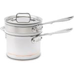 All-Clad Copper-Core Sauce Pan and Porcelain Double Boiler Set, 1.5 Quart