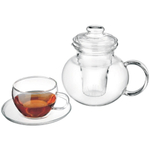 Simax Borosilicate Glass Teapot Cup & Saucer 11 Pc Set