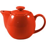 OmniWare Teaz Red Stoneware 14 Ounce Teapot with Stainless Steel Mesh Infuser