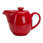 OmniWare Teaz Red Stoneware 24 Ounce Teapot with Stainless Steel Mesh Infuser