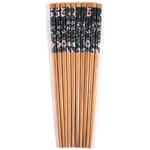 Asian Black Floral Bamboo Chopsticks, 5 Pair