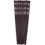 Asian Black Fish Silhouette Bamboo Chopsticks, 5 Pair