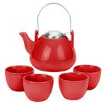 Ariel Red Teapot & 4 Tea Cups, 6 Piece Set