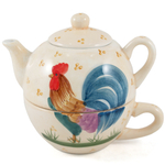 Rooster Tea Glazed Ceramic For One Pot Cup